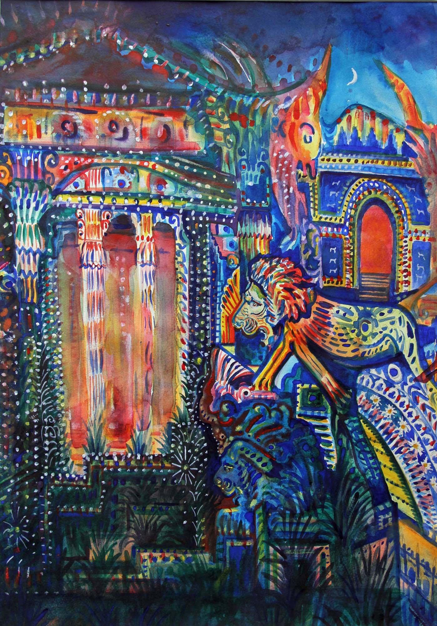 "<span class=""link fancybox-details-link""><a href=""/artists/94-neil-pittaway/works/12140-neil-pittaway-assyrian-lion-palace/"">View Detail Page</a></span><div class=""artist""><span class=""artist""><strong>Neil Pittaway</strong></span></div><div class=""title""><em>Assyrian Lion Palace</em></div><div class=""medium"">watercolour & bodycolour</div><div class=""dimensions"">Frame: 82 x 62 cm<br /> Artwork: 69 x 45 cm</div><div class=""price"">£695.00</div>"
