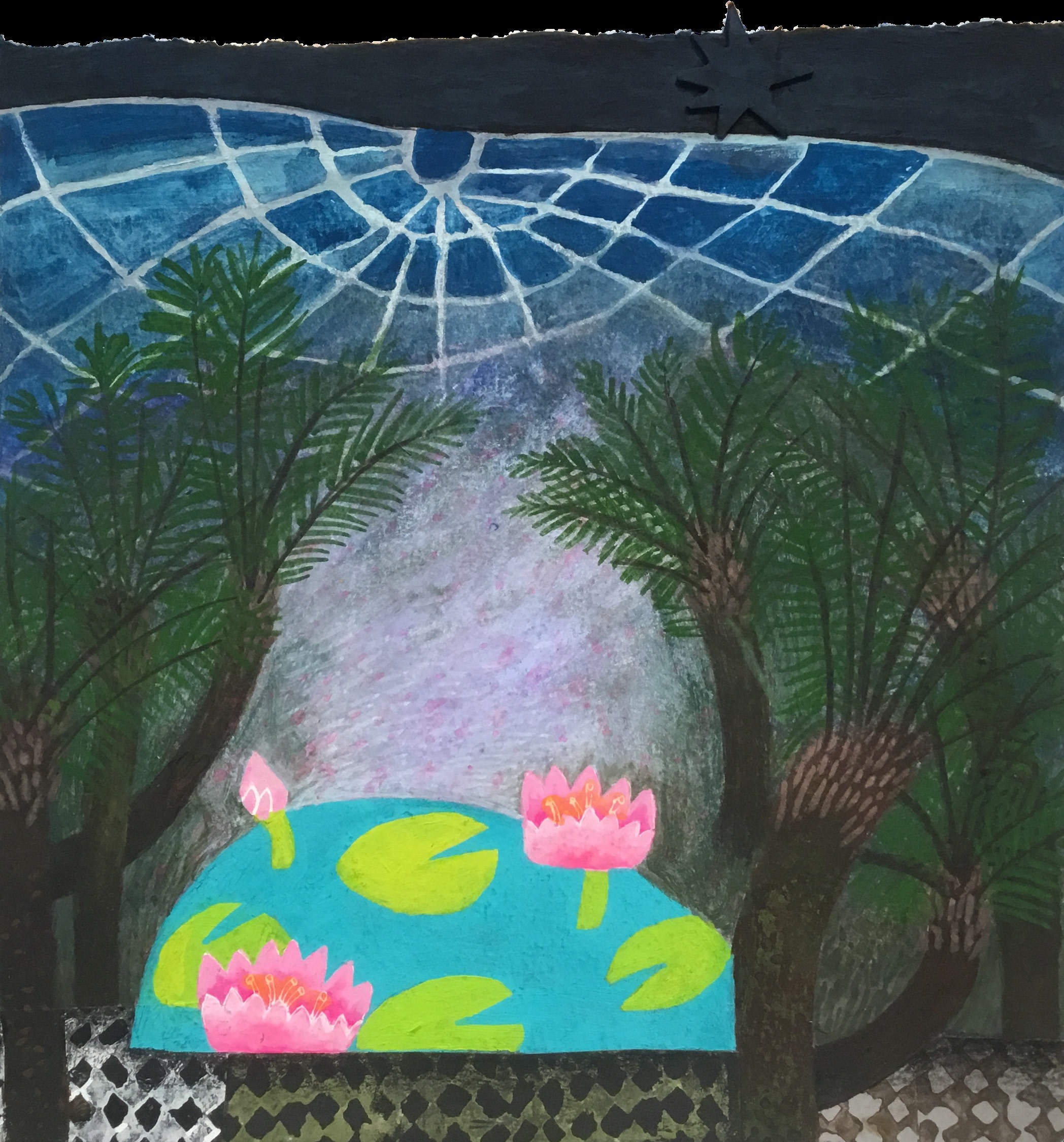 """<span class=""""link fancybox-details-link""""><a href=""""/artists/146-gertie-young/works/11674-gertie-young-tree-ferns-at-night/"""">View Detail Page</a></span><div class=""""artist""""><span class=""""artist""""><strong>Gertie Young</strong></span></div><div class=""""title""""><em>Tree Ferns at Night</em></div><div class=""""medium"""">watercolour, gouache & collage</div><div class=""""dimensions"""">Artwork: 21 x 21 cm<br /> Frame: 32 x 32 cm<br /> <br /> <br /> <br /> </div><div class=""""price"""">£320.00</div>"""