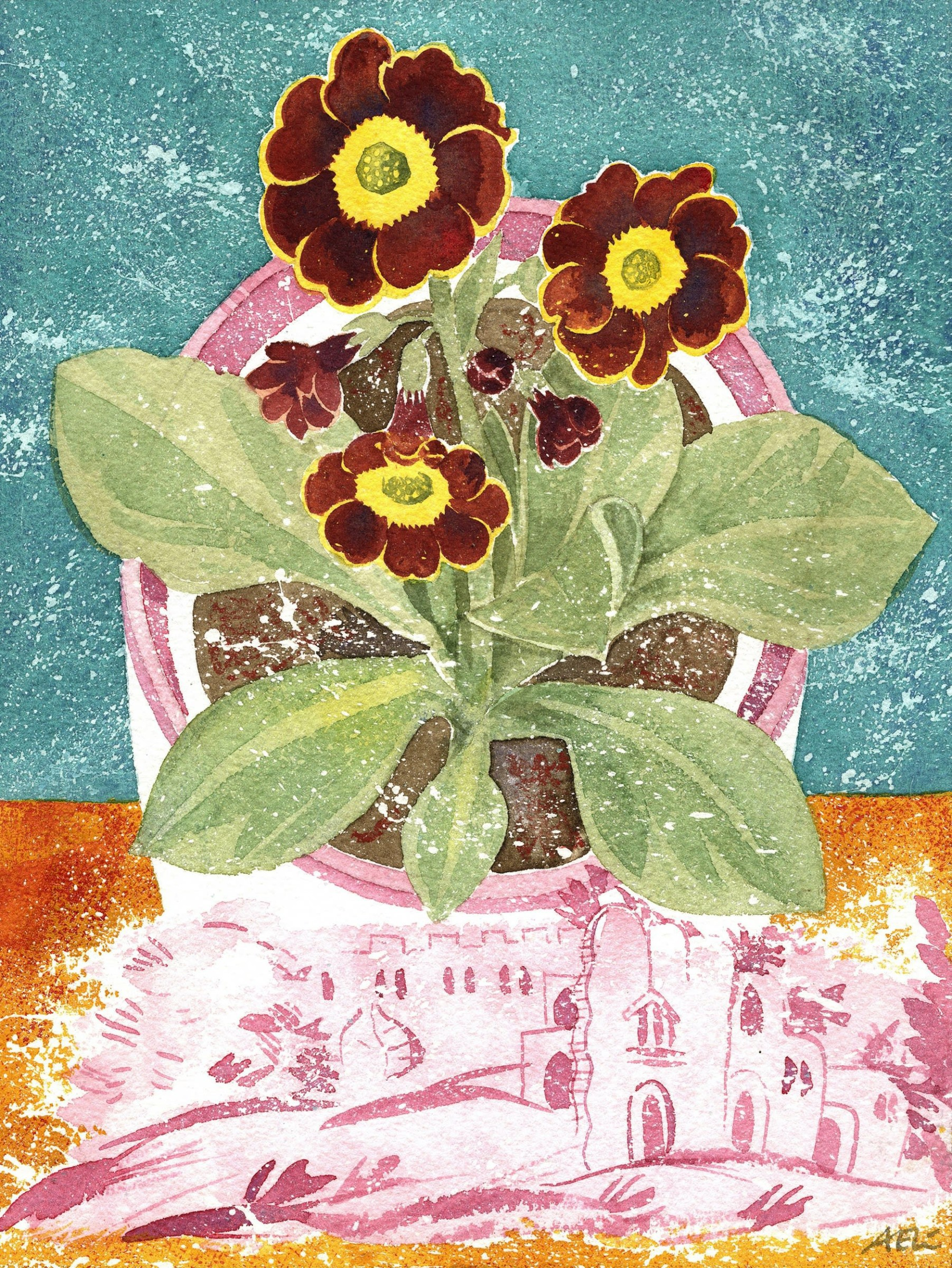 """<span class=""""link fancybox-details-link""""><a href=""""/artists/129-angie-lewin/works/12763-angie-lewin-auricula-autumn-fire-and-lustreware-landscape/"""">View Detail Page</a></span><div class=""""artist""""><span class=""""artist""""><strong>Angie Lewin</strong></span></div><div class=""""title""""><em>Auricula 'Autumn Fire' and Lustreware Landscape</em></div><div class=""""medium"""">watercolour</div><div class=""""dimensions"""">Frame: 37 x 31cm<br /> Artwork: 20 x 15cm</div><div class=""""price"""">£620.00</div>"""