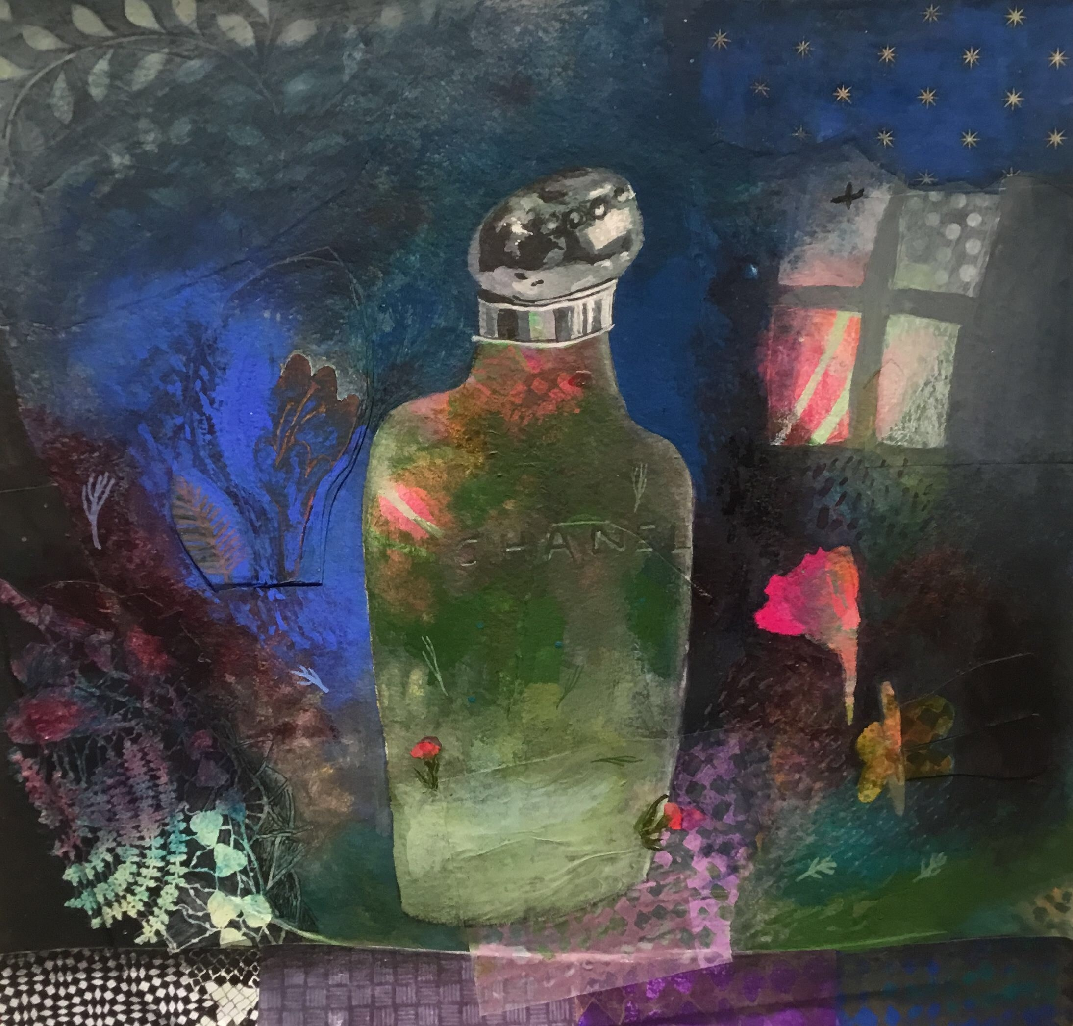 """<span class=""""link fancybox-details-link""""><a href=""""/artists/146-gertie-young/works/11132-gertie-young-night-scent/"""">View Detail Page</a></span><div class=""""artist""""><span class=""""artist""""><strong>Gertie Young</strong></span></div><div class=""""title""""><em>Night Scent</em></div><div class=""""medium"""">watercolour, gouache & collage</div><div class=""""dimensions"""">43x43cm</div><div class=""""price"""">£360.00</div>"""