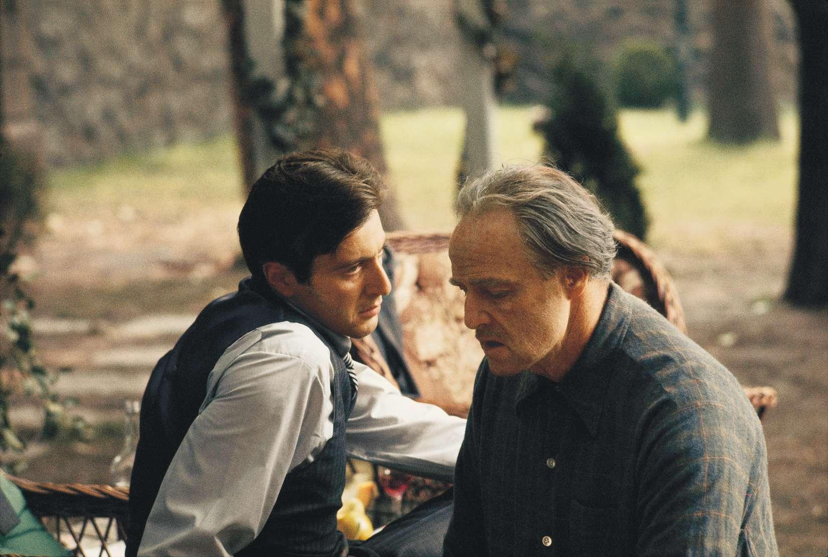 Steve Schapiro: The Godfather, Brando and Pacino in the Garden, Godfather  I, 1971 | Jackson Fine Art