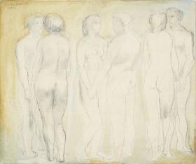 Barbara Hepworth, Three Groups on a White and Yellow Ground, 1949