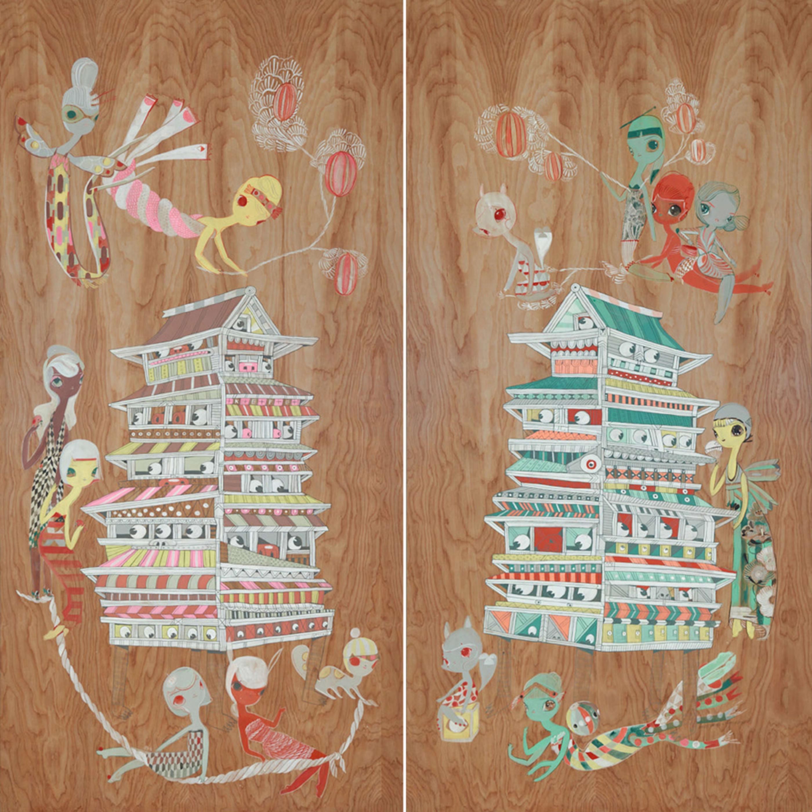 Kelly Tunstall & Ferris Plock  Shrine Bathing, 2018  acrylic on panel  72 x 36 in. 182.88 x 91.44 cm