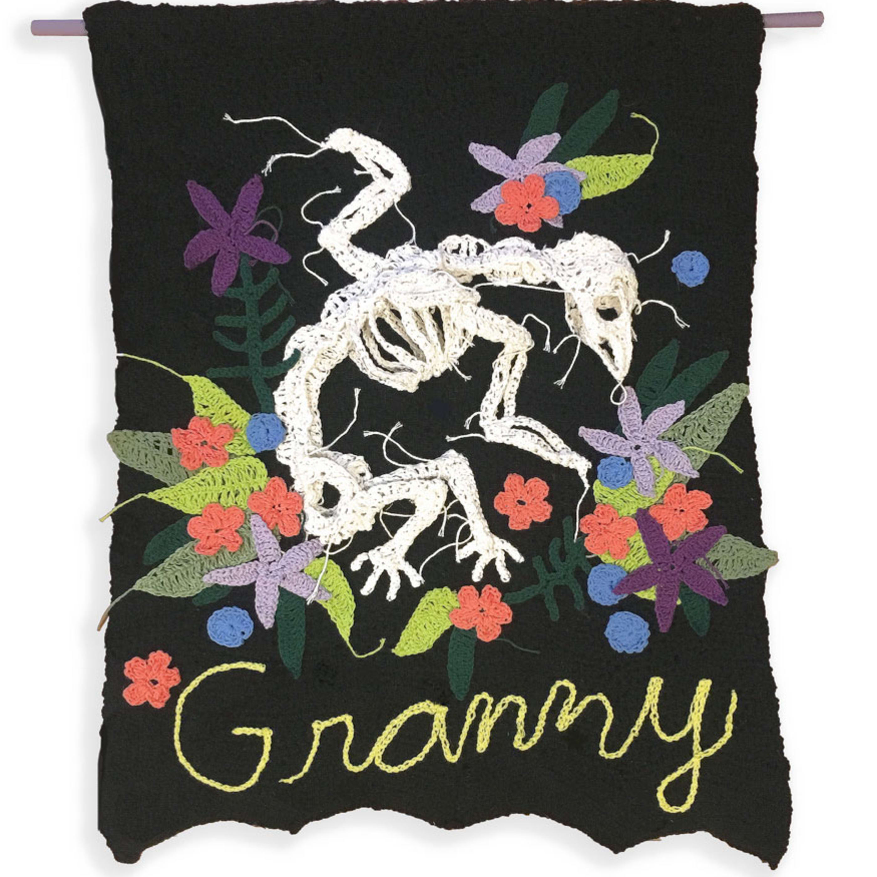 "Caitlin McCormack  Granny, 2019  crocheted cotton yarn tapestry  40"" x 28"""