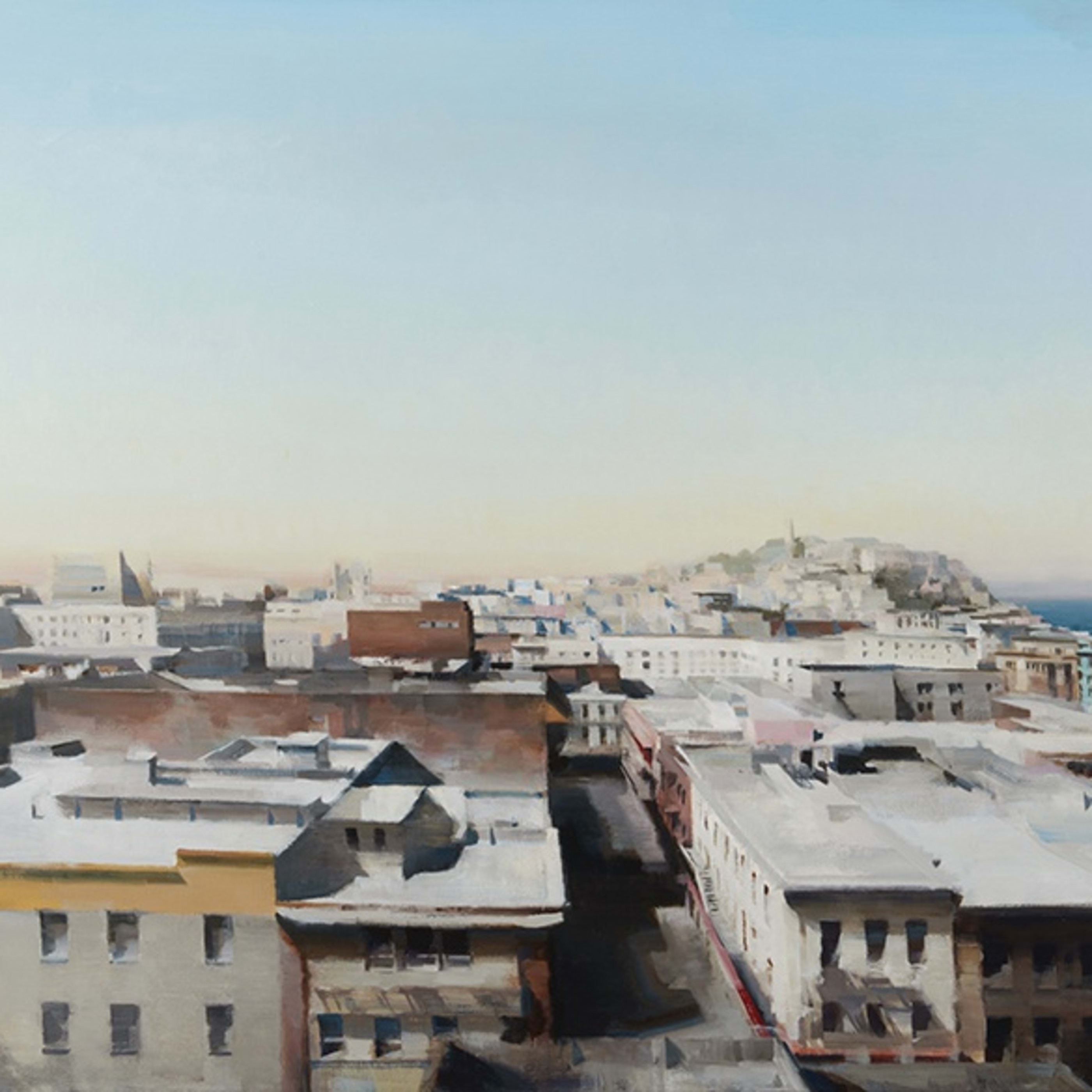 Oil painting by Kim Cogan featuring SF cityscape
