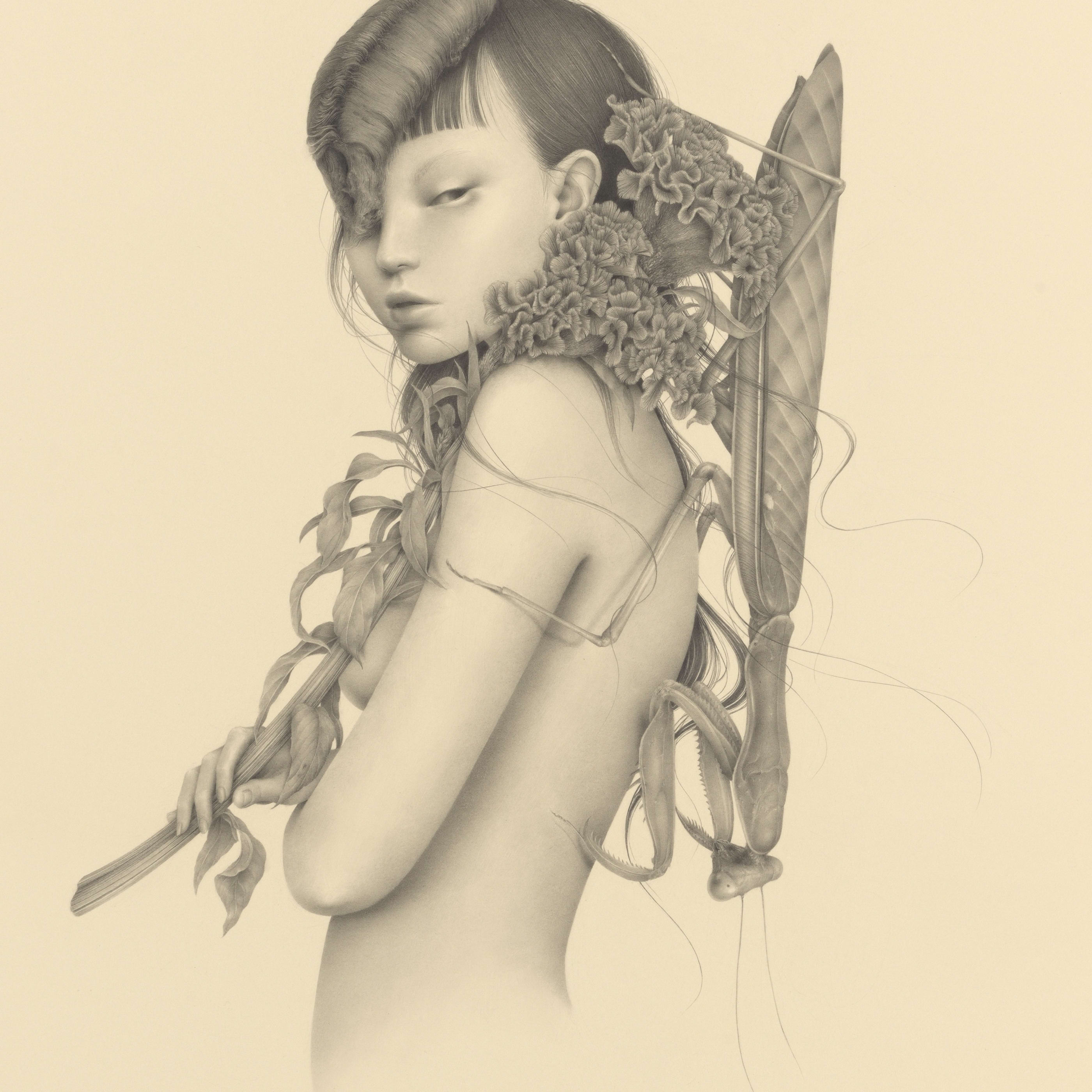 graphite drawing by Ozabu, featuring nude female with flowers and insects