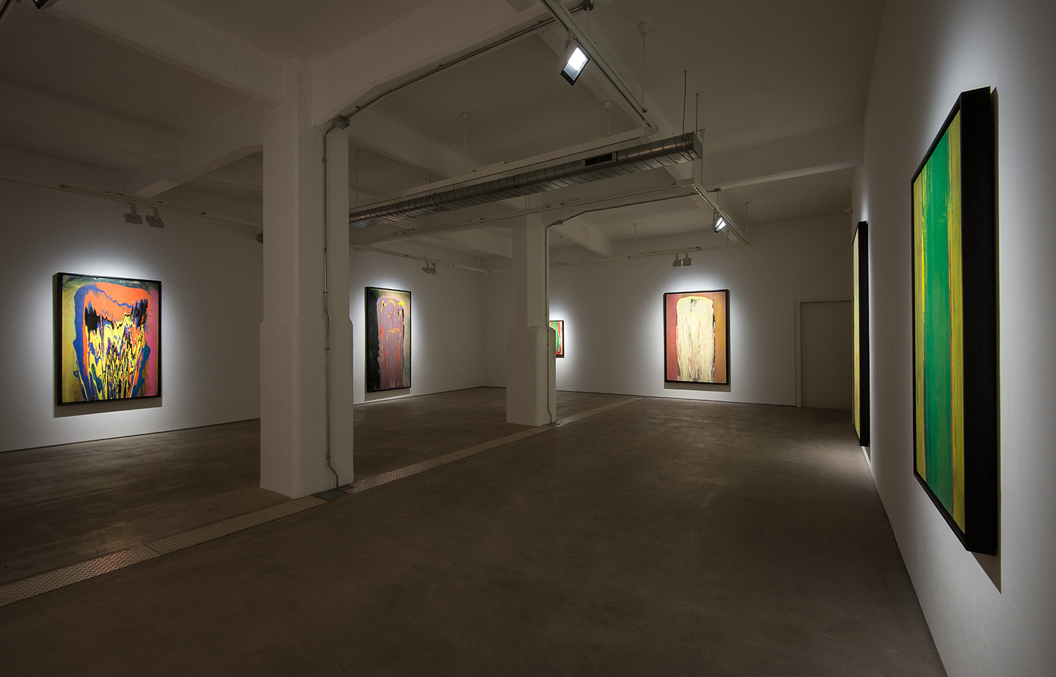 Installation view 'The Poured Paintings', Hales London, 11 September - 24 October 2015