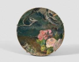 Paul Gauguin, Fleurs et oiseau, décor de tambourin, c.1884-1886