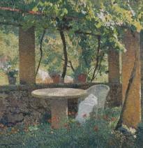 Henri Martin, Marquayrol, sous la treille, travaux de couture abandonés, c.1920