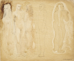 Barbara Hepworth, Group of Figures and Head (Burnt Umber), 1951