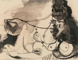 Pablo Picasso, Nu couché tenant une fleur - recto Nu couché, personnage et deux pigeons – verso, 1972