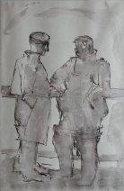 Josef Herman, Two fishermen on deck, 1949