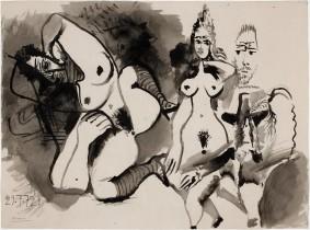 Pablo Picasso, Deux nus et têtes d'hommes, 29 July 1972