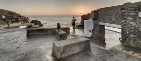 Man and Dog at the Forty Foot