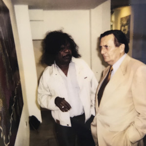 Clifford Possum and Barry Humphries at the Rebecca Hossack Gallery