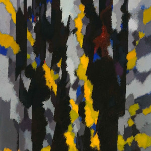 William Gear RA, Vertical, Yellow Flash, 1964