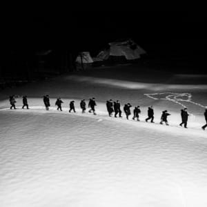 """Boys singing to drive away the harmful birds, Niigata, from the series """"Snow Country"""""""
