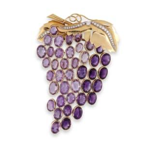 An amethyst and diamond 'Grappe de Raisin' brooch