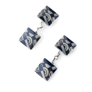 Pair of niello and silver cufflinks