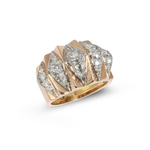 A retro yellow gold and diamond ring