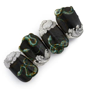 A micro mosaic, carbon fibre with bronze, gold, and diamond bracelet