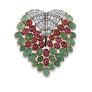 A ruby, emerald and diamond 'Feuille' brooch