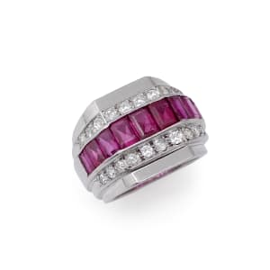 An Art Déco ruby and diamond chevalière ring