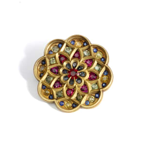 A ruby and coloured-sapphire brooch