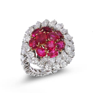 A Burmese ruby and diamond dress ring