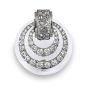 An Art Déco rock crystal and diamond brooch