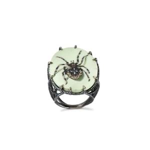 A micro mosaic, amazonite and diamond ring