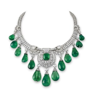 A Colombian emerald and diamond fringe necklace