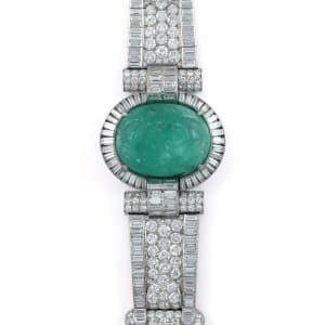 An Art Déco emerald and diamond bracelet