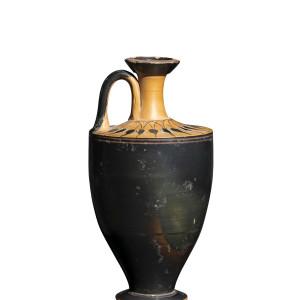 Greek black-glaze lekythos, Athens, Little Lion Class, 560-530 BC