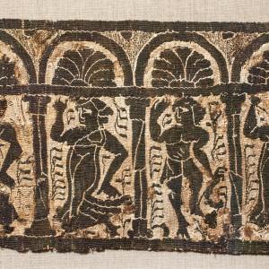 Coptic tunic fragment showing bacchanalia, c.4th century AD