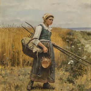 GIRL IN HARVEST FIELD