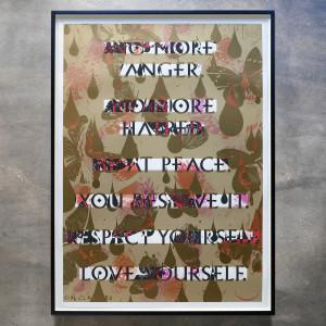 Iain Cadby, No More Anger, No More Hatred (Redacted gold), 2017