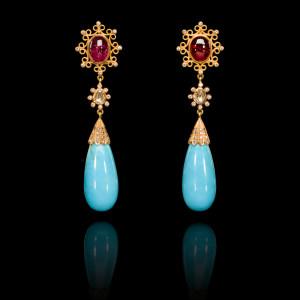 Diamond, Rubellite and Turquoise Drop Earrings