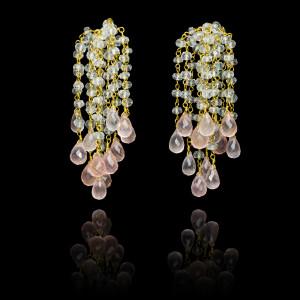Aquamarine and Rose Quartz Waterfall Earrings