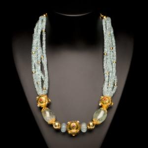 Aquamarine, Green Beryl and Gold Bead Necklace