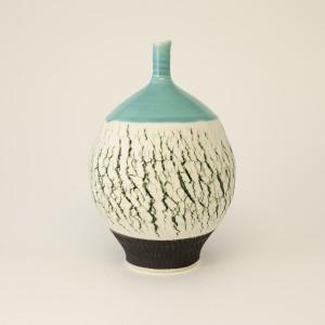Hugh West, Green Crackle Bottle Vase