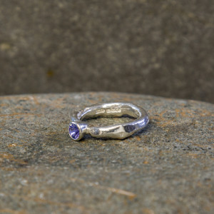 Marsha Drew, Rockpool Rustic Ring with small Tanzanite