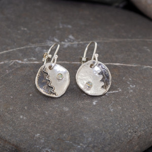 Marsha Drew, Round Shield Drop Earrings with Opals