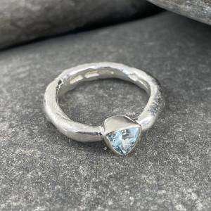 Marsha Drew, Rockpool Rustic Ring with Trillion Aquamarine