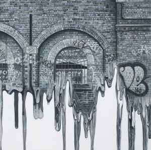 Simon Hennessey Urban Geometry Acrylic on panel 74 x 74 cm