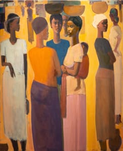 Tadesse Mesfin, Pillars of Life: Saturday Market VI, 2020 Oil on canvas, 161.5 x 130 cm. Courtesy of the artist, Lucy Emms and Addis Fine Art.