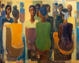 Tadesse Mesfin, Pillars of Life:Market Day IV, 2020. Oil on canvas, 130 x 161.5 cm