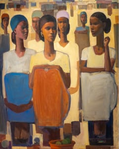 Tadesse Mesfin, Pillars of Life:Patience II, 2020, Oil on canvas, 162 x 130 cm