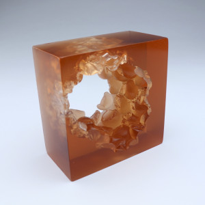 Jacci Delaney, Peach Bubble Wrap Cube, 2018