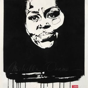 Maayke Schuitema Michelle Obama, 2019 Linoleum print on Japanese Kozo Paper 100 x 75 cm Edition 3 of 10 - The artworks reflect the delicate balance between private and public; Maayke's role as a daughter of a bipolar mother, her own motherhood, her position as an artist, her capacity as a partner and her involvement in the women's movement. The liaison between the expression of body postures, empathy and moods are important tendencies and visual elements in her work. - We present more work of Maayke Schuitema at ONLY WOMEN - 👁🗨 For price ranges please check #artsy (link in bio) - ONLY WOMEN 6 June - 12 July 2019 Rademakers Gallery Amsterdam - #ONLYWOMEN #women #female #femaleartist #art #contemporary #collecting #artlovers #rademakersgallery #maaykeschuitema #private #public #linoleumprint #japanese #kozopaper #equal #femmes #femmesupremacy #woman #strongwoman #girlpower #passion